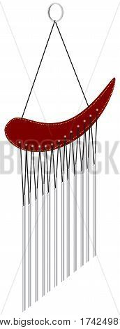 Tubes Wind Chimes Sound wood. Vector cartoon.