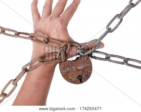 Man's hand and a metal chain