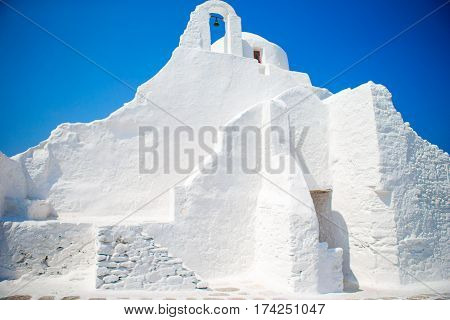 Photo of Paraportiani iconic church in chora of Mykonos island, Cyclades, Greece