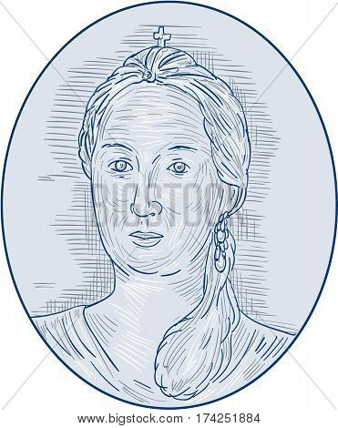 Drawing sketch style illustration of an 18th century Russian empress bust viewed from front set inside oval shape.