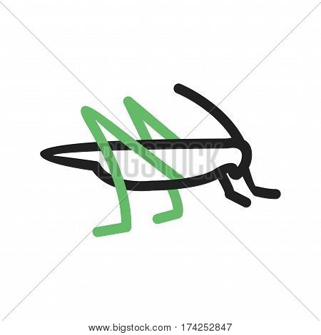 Grasshopper, head, insect icon vector image. Can also be used for disasters. Suitable for mobile apps, web apps and print media.