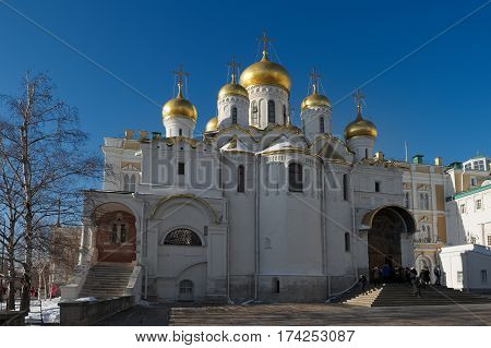 Moscow Kremlin Cathedral Square view of the Cathedral of the Annunciation was built in 1484 - 1489 years the object of cultural heritage landmark