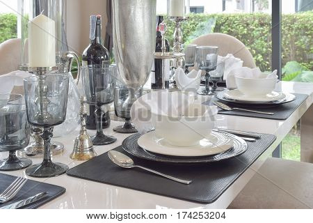 Elegant Table Set On Marble Dining Table In Modern Style Dining Room Interior