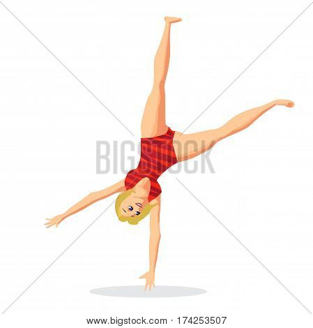 Rhythmic gymnastics. Sportswoman in a red sports uniform doing a somersault. Flat cartoon isolated vector illustration