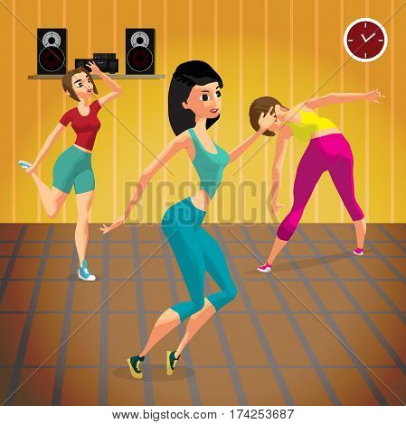 Young women doing fitness group exercises in the gym under the guidance of a coach. Flat cartoon vector illustration
