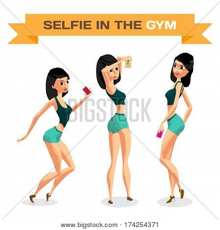 Set of girls is engaged in fitness in the gym and makes a selfie. Flat cartoon isolated vector illustration