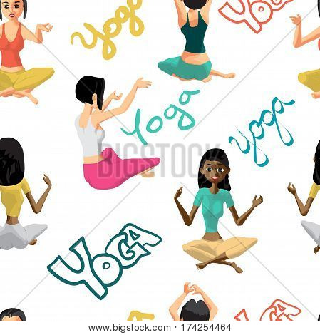 Seamless textile pattern of the women involved in fitness yoga in sportswear. Vector flat cartoon background