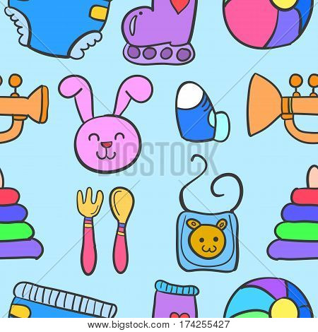 Baby element set of doodles collection stock
