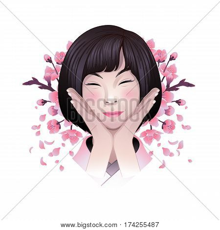 Portret of cute smiling asian girl posing with hands near her face and sakura flowers on the background