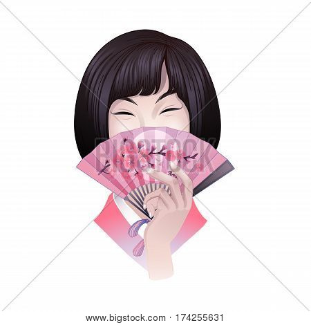 Portret of cute asian girl with short hairs hiding her face under the pink fan with sakura design. Vector portet isolated on white background
