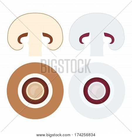 Champignons set with flat lay icons of whole and sliced mushrooms