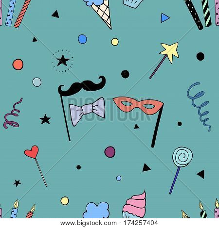 Happy Birthday Party seamless pattern with party doodles