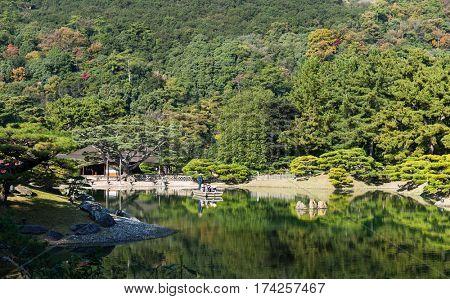Japanese Kokoen Garden in autumn