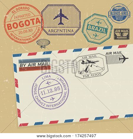 Travel stamps set with the names of South America cities vector illustration