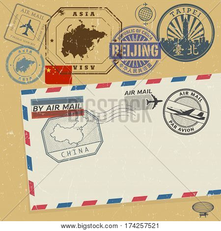 Travel stamps set with the text Asia China (also in chinese language) vector illustration