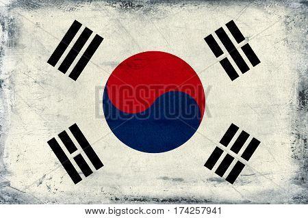 Vintage flag of South Korea background textured