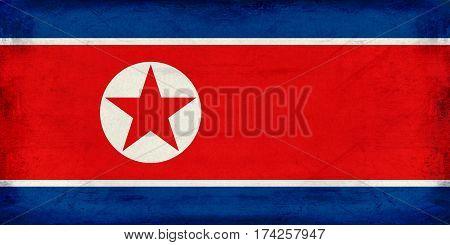 Vintage national flag of North Korea background