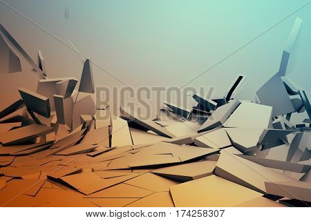 Abstract 3d rendering of cracked surface. Background with broken shape. Wall destruction. Bursting with debris. Modern cgi illustration.