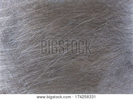 very scratched gray metal steel surface horisontal