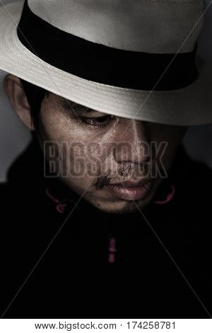 Mysterious Man With Hat In The Dark