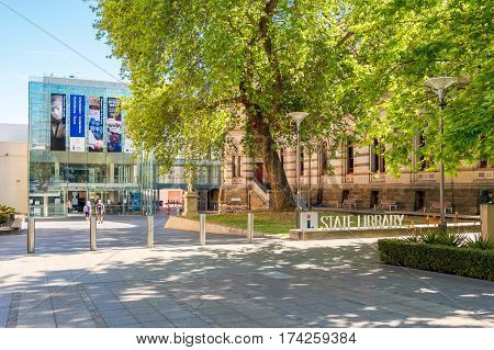 Adelaide Australia - November 11 2016: State Library of South Australia located on North Terrace in Adelaide CBD on a day