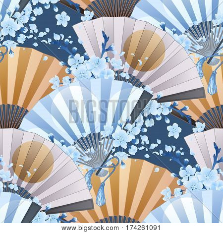 Hand fan in blue, white and golden colors with traditional japanese design and sakura decorations. Vector seamless pattern
