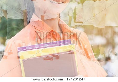 double exposure of students writing test exam on paper for Admissions in high school with uniform student in Thailand exam student background and education concept
