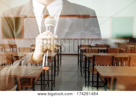 double exposure of professor speech and teaching with microphone keynote at class room in high school