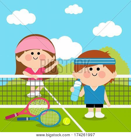 Vector illustration of a boy and a girl tennis players taking a break from game and drinking water.