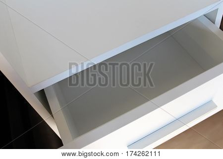 White bedside. Furniture manufacture. Kitchen and cabinet furniture.