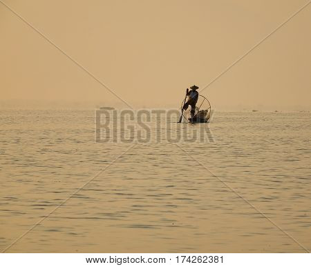 Intha People Catching Fish On Inle Lake In Myanmar