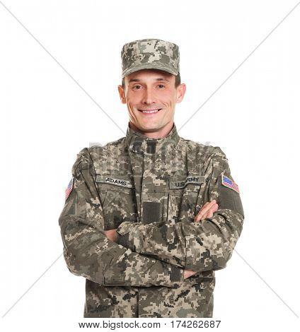 Soldier in camouflage on white background