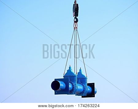 Crane Handling 500Mm Pipe With Gate Valves. Construction Process