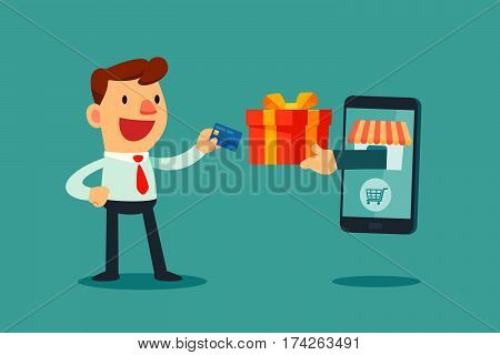 Happy businessman use credit card to shopping online and receive a gift box from smart phone. E-commerce concept.