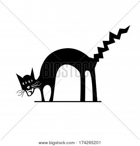 Vector sign cat scared and afraid on white background