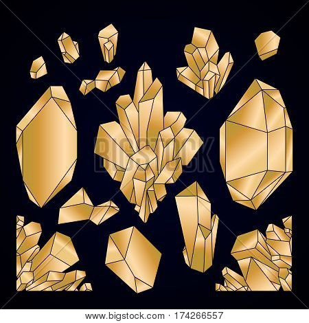 Cute graphic crystals drawn in line art style in golden colors
