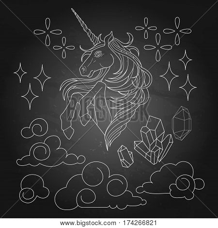 Cute set of graphic unicorn, fantasy clouds and crystals. Vector design elements isolated on the chalkboard