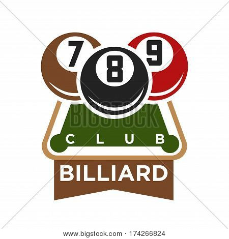Pool or billiards vector icon or template of cues and balls for poolroom game club contest. Emblem or logo for championship tournament wih champion winner cup award and victory crown
