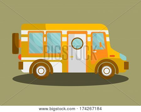 Camping bus or camper van motorhome car or vehicle vector isolated icon. Holiday trip or travel mobile coach