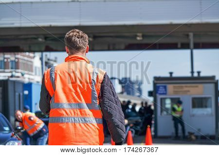 Harbour border control observing the people arriving at the borders of the united kingdom