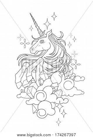 Cute graphic unicorn in the sky. Vector fantasy isolated illustration. Coloring book page design for adults and kids