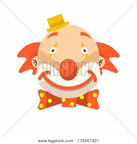 Clown face smile. Vector isolated icon of cartoon circus funny comic man or character on confetti background