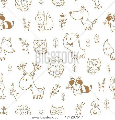 Seamless pattern with cute cartoon foxes, squirrels, wolves, bears, raccoons, owls, deer, and rabbits on white  background. Different plants. Vector contour image. Funny forest animals. Children's illustration.