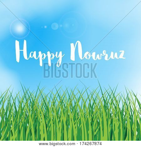 Happy Nowruz greeting card. Iranian Persian New Year. March equinox. Green grass field lawn meadow landscape. Herbal texture. Blue sky with clouds. Vector illustration. Spring and vacation theme