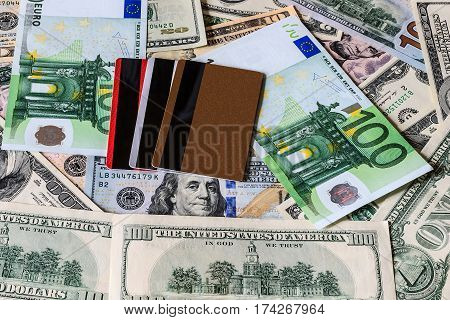 Credit Cards With Usa Dollars And Euros Bills.