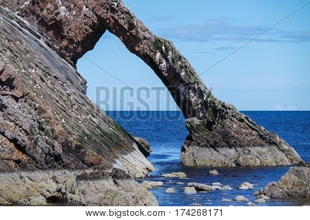Bow fiddle rock at Portknockie, Aberdeenshire, Scotland