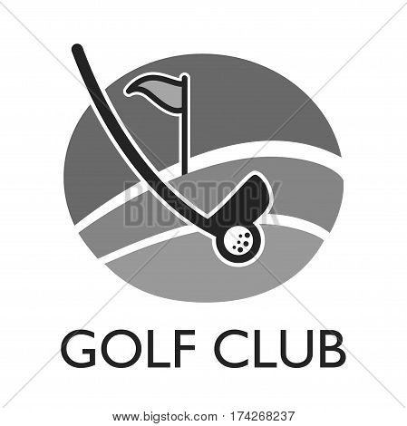 Golf country club logo template or icon for tournament and championship. Vector symbols of victory goblet or champion winner cup award