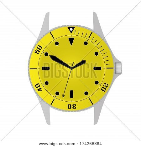 Simple Modern Sport Divers Style Yellow Watch Case And Dial Object Eps10