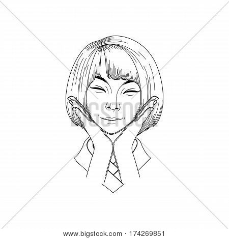Portret of cute smiling asian girl posing with hands near her face. Coloring book page design for adults and kids