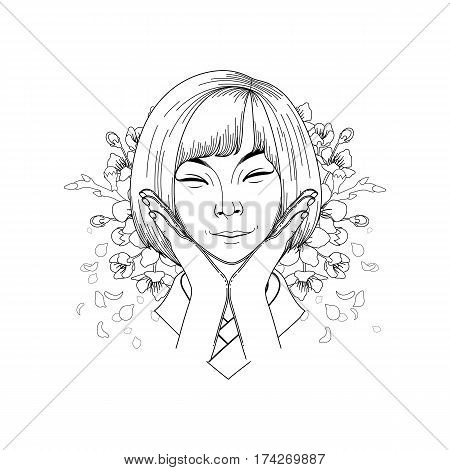Portret of cute smiling asian girl posing with hands near her face and sakura flowers on the background. Coloring book page design for adults and kids